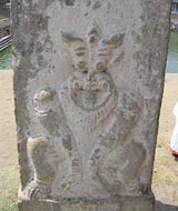 carved lion pillar